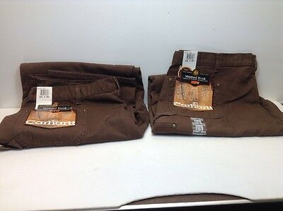 2 Pair Carhartt Washed Duck Double Front Dungaree Pants 44 X 30 Brown New