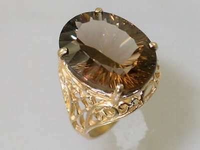 Smoky Quartz, Filigree Solid 10KY or 14KY Gold Ladies Ring, R291-Handmade