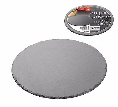 25cm ROUND GREY SLATE STONE PRESENTATION KITCHEN CHEESE BISCUIT PARTY BOARD