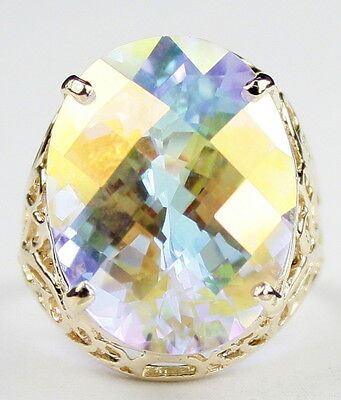 Mercury Mist Topaz, Filigree Solid 10KY or 14KY Gold Ladies Ring, R291-Handmade