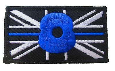 THIN BLUE LINE UNION JACK PATCH BADGE Hook Loop BACKED POLICE Remembrance (BLUE)