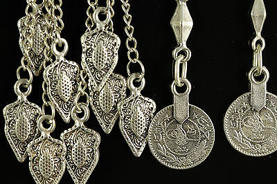 Cool Close Out Lot Of 2 Pairs Turkish Tribal Silver Coin Earrings