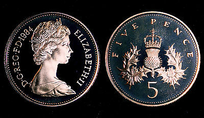 BRITISH COINS: Elizabeth II 1984 PROOF Five Pence Coin (5p, 5 Penny/Pennies)