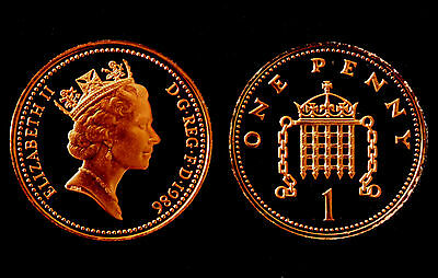 BRITISH COINS: Elizabeth II 1986 PROOF One Penny Coin (1p, 1 Pence)