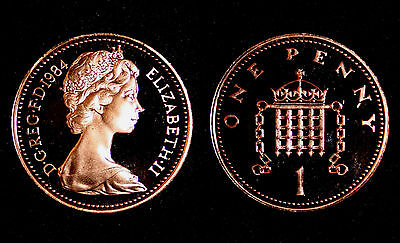 BRITISH COINS: Elizabeth II 1984 PROOF One Penny Coin (1p, 1 Pence)