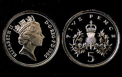 BRITISH COINS: Elizabeth II 1986 PROOF Five Pence Coin (5p, 5 Penny/Pennies)