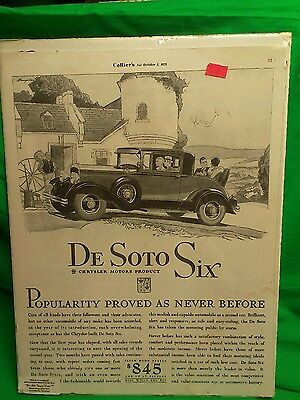 Desoto  Six advertising Collier's Oct 5, 1929 sealed original
