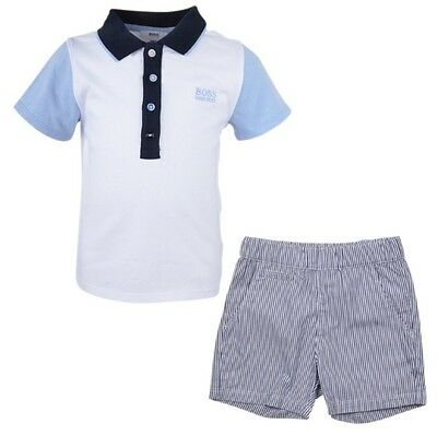 Hugo Boss Baby Ss/17 White Polo Striped Short Set Size 1-3 -6-9-12-18 Months