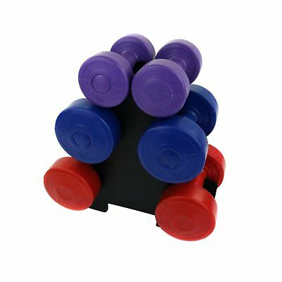 NEW! 12kg Vinyl Hand Dumbbell Workout Weight Set Including Stand