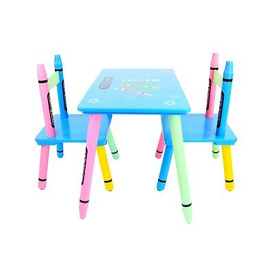 NEW! Childrens Wooden Crayon Table and Chairs Set Kids Room Furniture