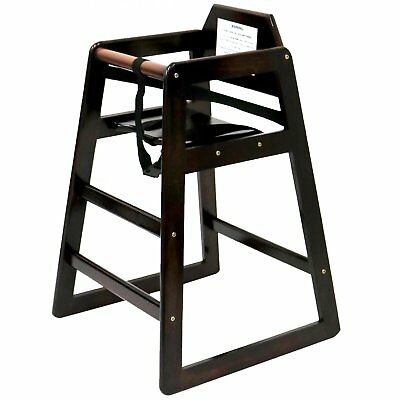Stackable Kids Baby Wooden Feeding Commercial Home High Chair - Dark Brown