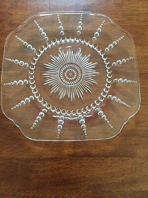 """Vintage Federal Glass Columbia Pattern Clear Depression Glass Plate, 9"""""""