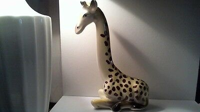 Vintage Ceramic Painted Glazed Giraffe Coin Bank With Stopper Piggy Bank