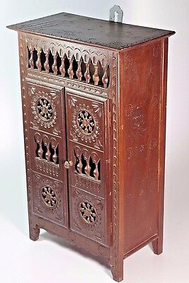 Antique Doll House Miniature French Breton Sculpted Carved Wood Wardrobe