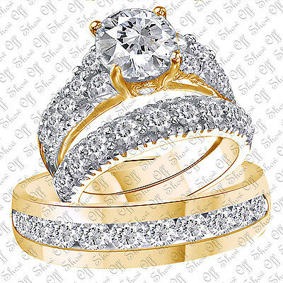 His and Her Diamond Engagement Bridal Wedding Band Trio Ring Set 14K Yellow Gold