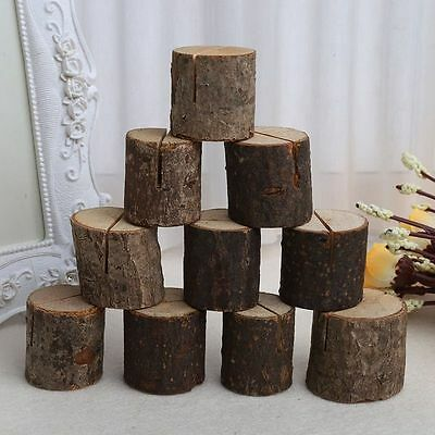 10Pcs Wooden Table Stand Number Place Name Memo Card Holder Party Wedding Decor