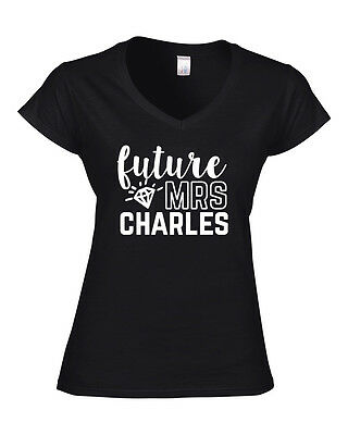 Future Mrs Personalised Surname Ladies V-neck T-shirt | Bride To Be The New Mrs