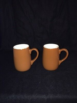 2 Antique Coors Colorado Pottery Teardrop Mugs USA Brown