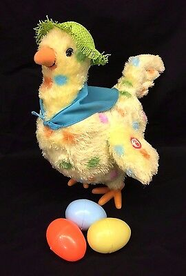 Hallmark Squawkin Egg Droppin Dropping Chicken Hen Singing Plush Green Hat Eggs