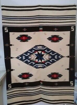 """Vintage Texcoco Mexican Woven Wool Rug Blanket 53"""" x 76"""""""