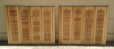 "33"" T x 40 1/2"" W VTG Colonial Wood Interior Louver Plantation Window Shutters"