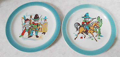 Vintage Barratts of Staffordshire pottery cowboy plates x 2 MINT condition