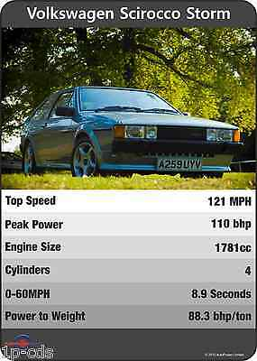 VW SCIROCCO STORM Mk2 Trumps Original Print Poster Ltd edition Volkswagen UNIQUE