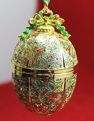 """Authentic FABERGE' 4"""" Red & Green Egg Ornament - Potpourri Holder"""