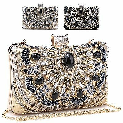 Ladies Multi Gem Diamante Box Clutch Bag Evening Bag Party Handbag Purse M20101