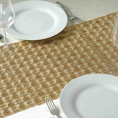 """Champagne Sequin 12""""x108"""" TABLE RUNNER with DOTS Wedding Party Decorations SALE"""