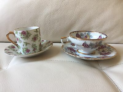 Set Of Two Floral Chintz Tea Cups And Saucers