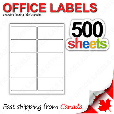 500 Sheets of Shipping Labels 2'' x 4'' 10up 5000 Labels