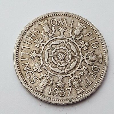 Dated : 1957 - Queen Elizabeth II - One Florin / Two Shillings Coin