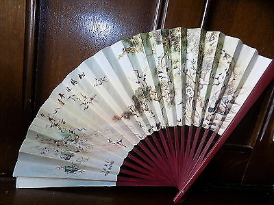 Collectable vintage oriental crane print metallic paper folding bamboo hand fan