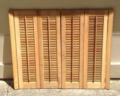 "33"" T x 40"" W VTG Colonial Wood Interior Louver Plantation Window Shutters"