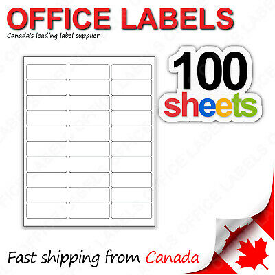 100 Sheets of Address Labels 1'' x 2-5/8'' 30up 3000 Labels FBA