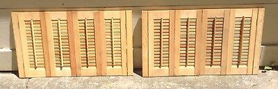 "21"" T x 36"" W VTG Colonial Wood Interior Louver Plantation Window Shutters"