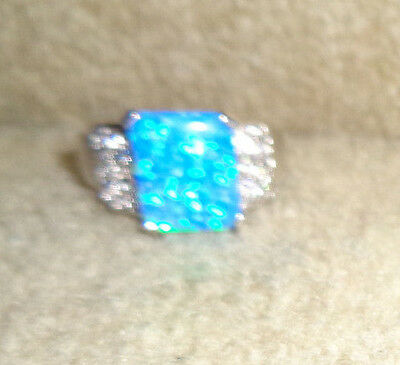 Unique 925 Sterling Fire Opal (Lab) & White Topaz Ring Size 8