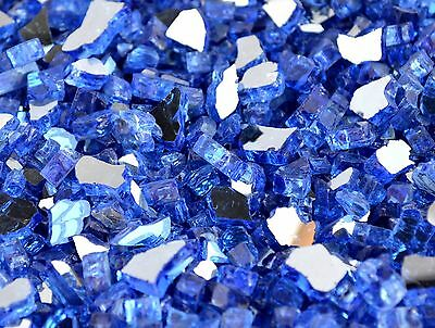 "20 LBS 1/4"" SAPPHIRE(COBALT BLUE) REFLECTIVE ,Fireplace,Fire Pit Glass Rocks"