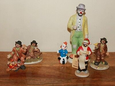 lot of 5 Emmett Kelly Jr Collectible Clowns and one random clown Christmas
