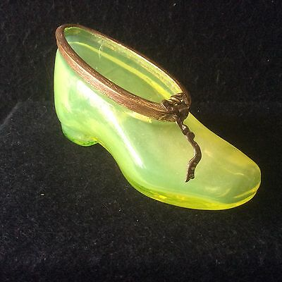 A Beautiful Victorian Blown Vaseline Glass Shoe With Ormolu Trim - Similar # 264