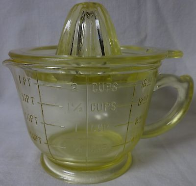2 Cup Measuring Cup with Reamer Yellow Hazel Atlas Glass Company