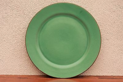 "Antique Catalina Island Pottery Large 12 1/2"" Green Glaze Plate, Charger 1930's"