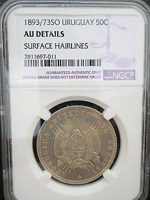 1893  Over 73 SO Uruguay 50 Centesimos, NGC AU Details - Cleaned