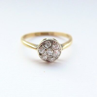 Antique Vintage Diamond Engagement Ring Daisy Cluster 18ct Gold C.1900 Victorian