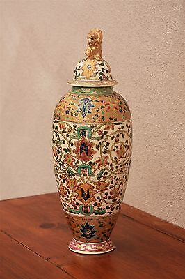 """Antique Fischer J. Budapest Patent Victorian Chinoiserie 17"""" Urn, Hungary"""
