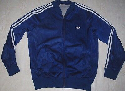 Vintage Adidas Firebird Tracksuit Track Top Jacket Shiny Blue Run Dmc Ibiza L Xl