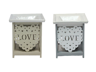 'Love' Wooden and Ceramic Oil Burner / Wax Tart Warmer for use with Wax Melts