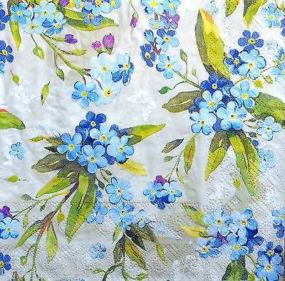 4 Vintage Lunch Paper Napkins for Decoupage Party Craft Blue Flowers  Art F15