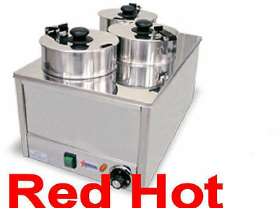 Fma Omcan Triple Four Qt. Electric Soup, Chili, Cheese Food Warmer Heater 11390